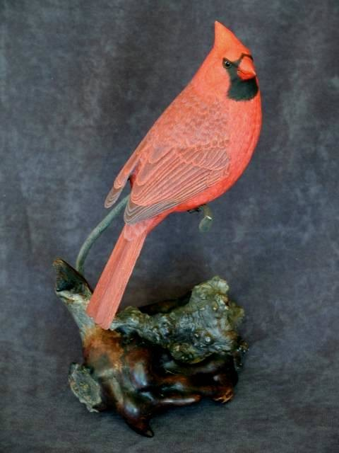 Male cardinal-Wood sculpture