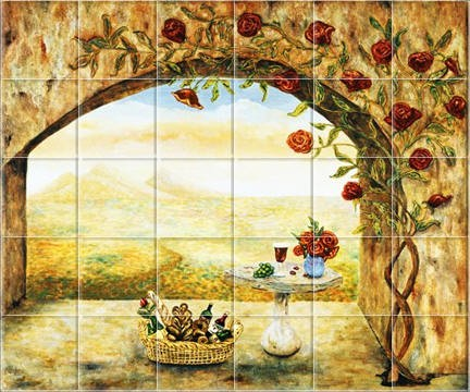 Wine Roses Tile Mural - Linda Paul